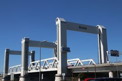 Bridge named Botlekbrug on motorway A15 in the Botlek harbor in Rotterdam, The Netherlands.  stock photo