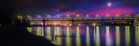 Bridge named after EO Paton  night Royalty Free Stock Images