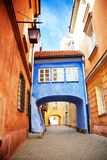 Bridge on narrow street in Warsaw Stock Photography