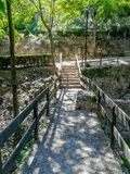 Bridge in natural landscape with wooden fences stock photos