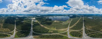 Bridge and nature in Riga city, Latvia 360 VR Drone picture for Virtual reality, Panorama stock photos