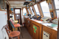 In the Bridge (nautical) of the ship stock photography