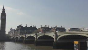 The bridge near the Big Ben tower. stock video