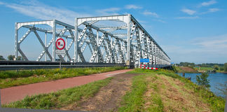 Bridge near the Dutch village of Keizersveer. Bridge over the the Dutch river Bergse Maas and between the villages Hank and Raamsdonksveer Stock Photo