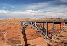 Bridge near Glen canyon dam Royalty Free Stock Images