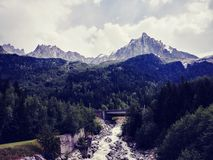 Bridge Near Trees and Mountain Landscape Photo Royalty Free Stock Image