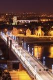 Bridge on Nemunas River and city architecture Stock Photography