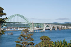 Bridge Newport Oregon. The US Route 101 Yaquina Bay Bridge is an iconic bridge on the Oregon State coastal highway that spans the Yaquina Bay south of Newport Royalty Free Stock Images