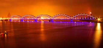 The bridge in the night. The bridge in Riga in the night royalty free stock photography