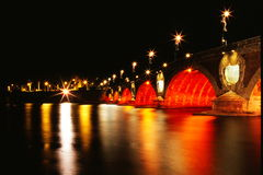 The bridge in night. The night scenes of the Toulouse ,bridge with multicoloured light ,is so beautiful Stock Image
