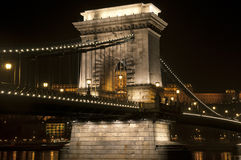 Bridge by night. The Chainbrideg by night in Budapest Royalty Free Stock Photography