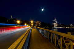 Bridge at night. Bridge at night with light-trails royalty free stock photo