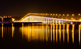 Bridge at night. The bridge across the island at night on the island of Macao Royalty Free Stock Photography