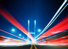 Bridge at night. Bridges and light trails in China royalty free stock images