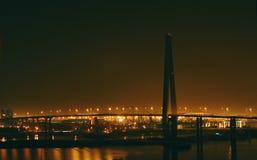 A bridge in night. A grand beautiful bridge in night, have lights, Tang Gu of  Tian Jin, China Royalty Free Stock Images
