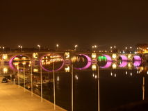 Bridge at night. Bridge on the river Garonne at night Stock Photos
