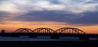 Bridge at night. The oddesund bridge seen at dusk, jutland, denmark Royalty Free Stock Photography