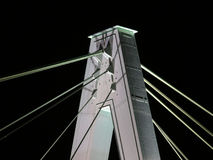Bridge at night. Detail of a bridge pylon shot at night stock photo