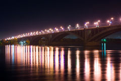 Bridge at night. Krasnoyarsk, Russia Stock Photo