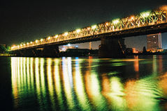 Bridge in night. Bratislava - slovakia Stock Photo