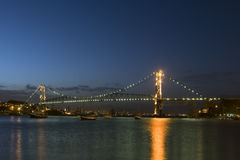 Bridge by night Royalty Free Stock Photography