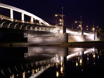 Bridge at night. In poznan city Royalty Free Stock Photo
