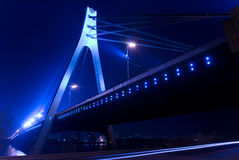 Bridge and night. View of bridge over river in the city at night Stock Photography