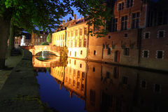 Bridge at night Bruges Stock Photo