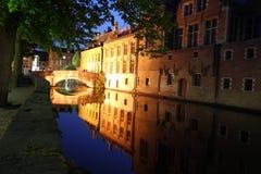 Bridge at night Bruges Stock Photo