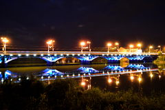 Bridge. Night city lights Vinnitsa Ukraine. central  city Vinnytsia Ukraine royalty free stock image