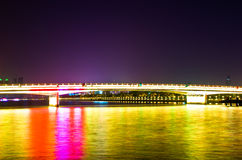 Bridge at night in Guangzhou, China Royalty Free Stock Photo