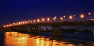 The bridge with night illumination Stock Photography