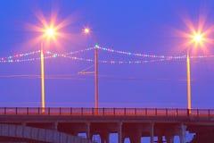 Bridge with night illumination Royalty Free Stock Photography