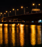 Bridge at night. Light effect in Thailand Royalty Free Stock Photography