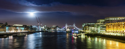 The Bridge by Night With the Moon royalty free stock photography