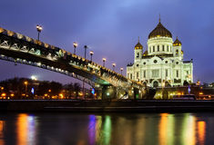 Bridge at night in Moscow Royalty Free Stock Images