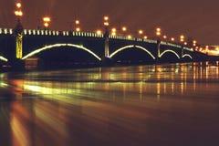 Bridge. Night Palace Bridge St. Petersburg, Russia stock photos