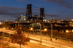 Bridge at night. Portland, Oregon Stock Images