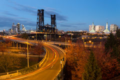 Bridge at night. Portland, Oregon Royalty Free Stock Photos