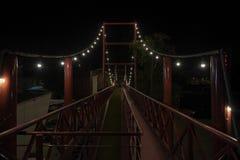 Bridge in the night restaurant stock photo