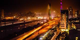 Bridge at night in Sao Paulo. Most famous bridge in the city at night, Octavio Frias De Oliveira Bridge, Pinheiros River, Sao Paulo, Brazil Royalty Free Stock Images
