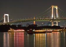 Bridge - night scene. A night shot of the Rainbow Bridge in Tokyo, Japan stock images