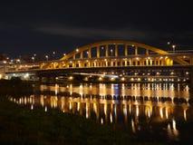 Bridge night scenes. Near the park and river Stock Photography