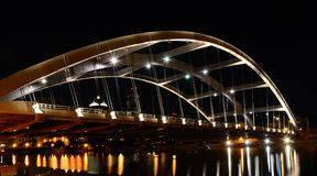 Bridge Night Shot. Susan B. Anthony bridge in Rochester NY, over the Genesee River Royalty Free Stock Photos