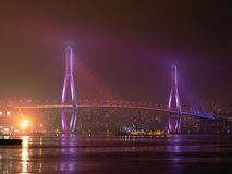 Bridge at night. Suspension bridge in the night from illumination in the city of Busan of South Korea Royalty Free Stock Image