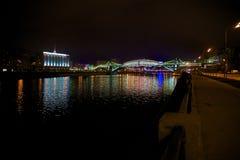 Bridge. Night on the town quay royalty free stock photo