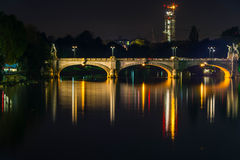 The bridge at night, Turin Stock Images