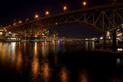 Bridge at night at Vancouver Canada Stock Photo