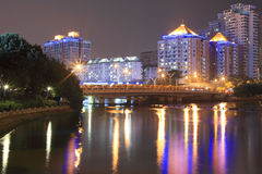 Bridge(night view of yuandang lake) Royalty Free Stock Photo