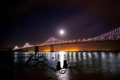 Bridge, Night, Water, Reflection royalty free stock photography